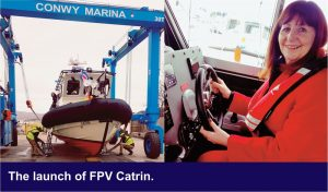 The launch of FPV Catrin by the Welsh Cabinet Secretary for Energy, Planning and Rural Affairs, Lesley Griffiths